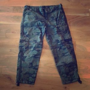Anthropologie cropped camo pants
